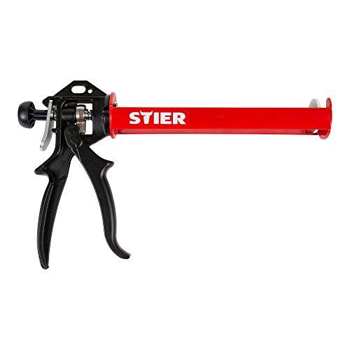 STIER Kartuschenpistole SAP-II, mechanisch, Länge 355 mm, ideal für Silikon- und Mörtelkartuschen, Übersetzungsverhältnis 18:1