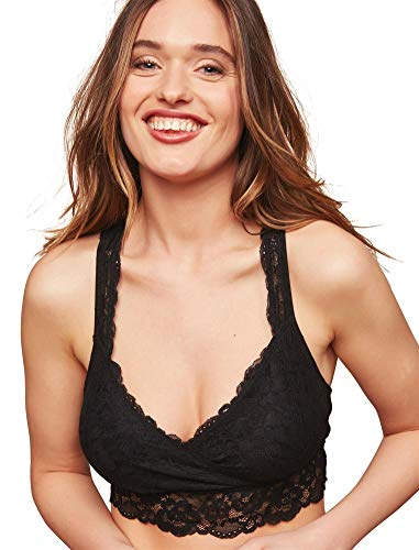 Motherhood Maternity Women's Maternity Lace Racerback Nursing Sleep Bralette Bra, -black, Extra...
