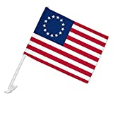 GRAPHICS & MORE Betsy Ross 1776 American Flag Car Truck Flag with Window Clip On Pole Holder