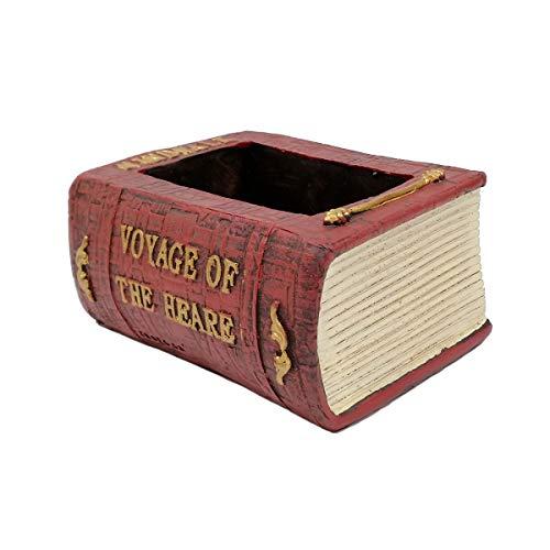 EMiEN Resin Small Book Succulent Pots With Drainage,Mini Pots For Plants,Succulent Planters,Bonsai Pots,Air Plant Flower Pots Cactus Faux Plants Containers, Book Planter