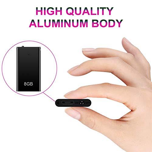Grabadora de voz espía mini y reproductor mp3. Micrófono espía portátil con 8GB, recargable por puerto USB y activación por voz de alta calidad. Para la escuela, el trabajo, reuniones