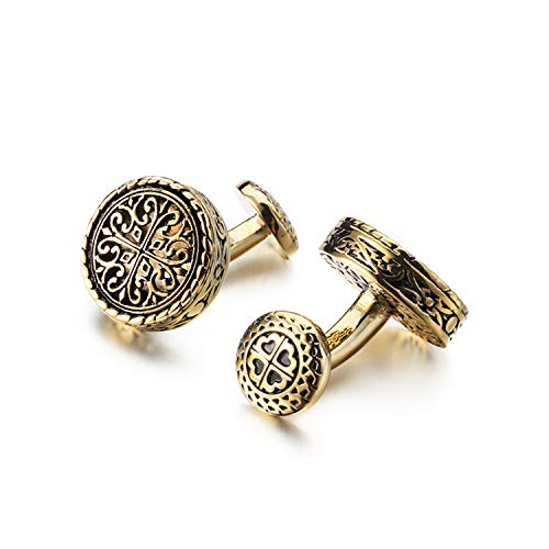 Cufflinks for men gold Vintage Style Irish Celtic Knot Golden Ball Return Whale Back Closure Cuff links mens French Shirts Accessory Wedding Best Man Tuxedo Studs Father's day Groomsmen Gifts Box