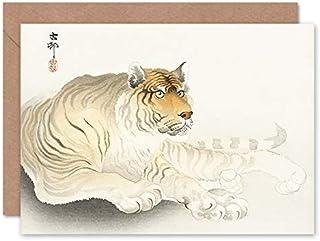 Fine Art Prints Tiger akvarell Ohara Koson gratulationskort med kuvert inuti premiumkvalitet