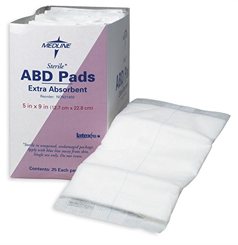 Medline sterile Pad  5 Inch x 9 Inch 25 Count