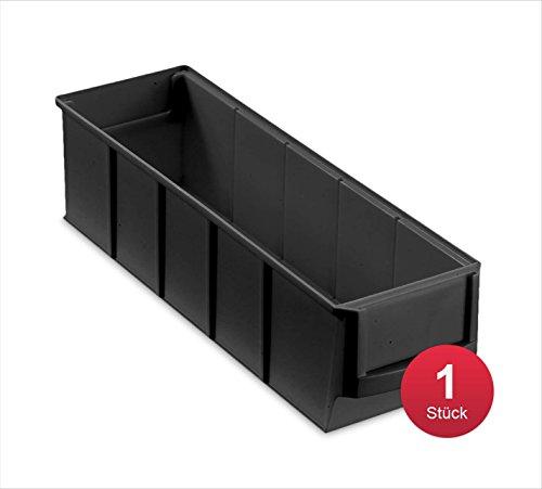 aidB Industriebox, 300x91x81 mm, schmal, schwarz, leitfähig, robuste Aufbewahrungsbox aus Kunststoff, stapelbare Lagerbox, ideal für die Industrie