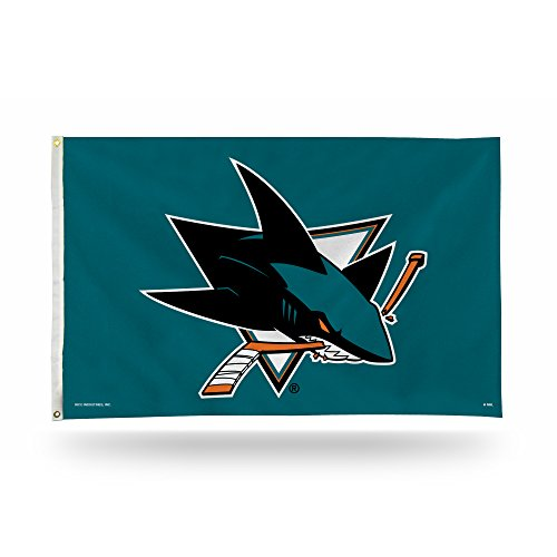 NHL Rico Industries  3-Foot by 5-Foot Single Sided Banner Flag with Grommets, San Jose Sharks