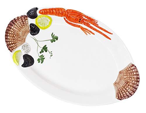 Lashuma Handgemachte, Ovale Servierplatte aus Italienischer Keramik, Fischteller im Meeresfrüchtedesign, Servierteller 32 x 20 cm