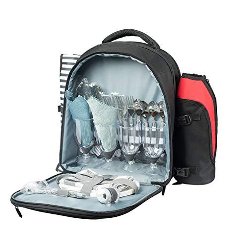 RUIXFAP Multifunktional Picknick Rucksack Für 4 Personen Mit Flaschenhalter, Großem Kühlfach, Geschirr Und Besteck, Picknickset Dauerhaft
