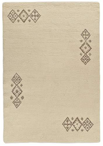 Sona-Lux handgekuepfter Berbère Tapis Sélectionnez la Taille - Laine, Blanc, Blanc, 200 x 300 cm