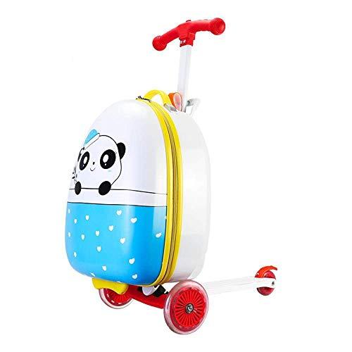 Kids Scooter Suitcase Opbergwagen Case Toy on Wheels Koffer Bagage Skateboard for Kinderen Carry-on Kids Bagage Ride, Panda Leuk speelgoed voor kinderen. (Color : Panda)