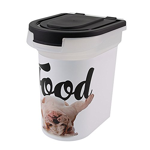 "Paw Prints 37716 15 lb. Pet Airtight Food Storage Container, Includes Snap-in 1 Cup Measured Scoop, 12.5 x 9.75 x 13.38, 12.5"" L x 9.75"" W x 13.38 H, Carlos The Bulldog Design"