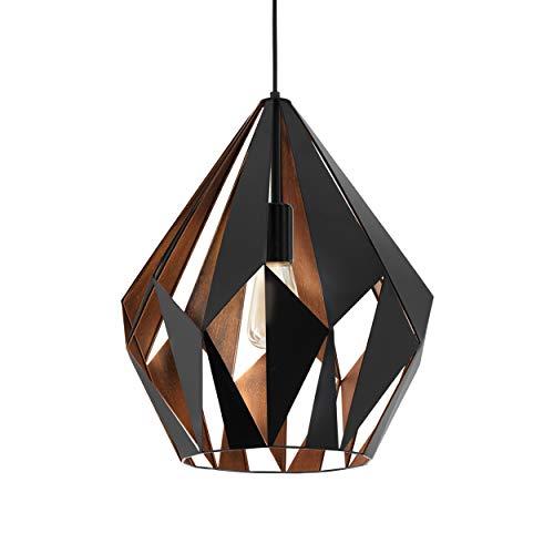 EGLO Lustre CARLTON 1, 1 suspension à flamme vintage, lampe suspendue rétro en acier, couleur : noir, cuivre, douille : E27, Ø 38,5 cm