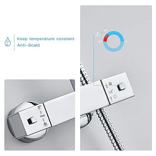 Auralum – Thermostat-Duscharmatur, Duschsystem mit Brausethermostat und Regendusche, Chrom - 2
