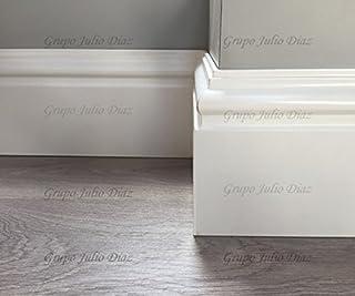 grupo julio diaz Rodapie Blanco Modelo Bengali de Dimensiones 13 cm de Alto x 1,9 cm de Grosor, se Vende por Tira y Cada una es de 244 de Largo, Puede Elegir tantas como desee
