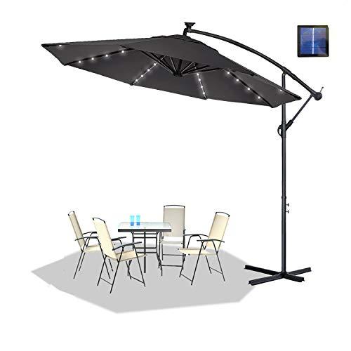HENGMEI Ø 350cm Sombrilla Parasol Mástil de Aluminio y 100% Poliester Tela protección UV 40 + y Impermeable con Solar LED Sombrilla de Jardin, Terraza, Color Gris Oscuro
