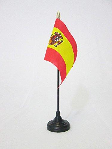 AZ FLAG Bandera de Mesa de ESPAÑA 15x10cm - BANDERINA de DESPACHO ESPAÑOLA 10 x 15 cm Punta Dorada