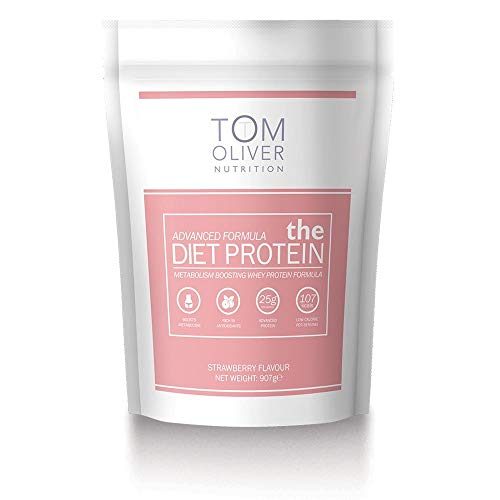 Tom Oliver Nutrition The Diet Protein - Diet Whey Protein Powder 907g - Weight Control Shake for Men & Women | Low Carbs | Great Tasting (Strawberry)