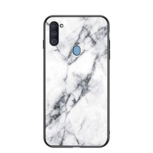 MadBee für Samsung Galaxy A11 / M11 Hülle [mit HD-Schutzfolie], Marmor Kratzfeste 9H Glas Back & TPU Silikon Rahmen und weichem Bumper Stoßabsorbierende Schutzhülle (Marmor 1)