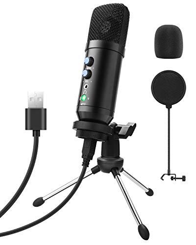 Beedove USB Microfono, PC Condensatore Microfono, Plug & Play Professionale, con Treppiede e Filtro Pop per Registrazione Vocale, Podcasting, Streaming, Video di Youtube per PS4 Laptop Desktop (Nero)
