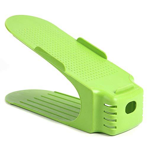 GUOYIHUA guoyi Chihuahua Shoe Stacker Holder Space Saver, fácil Zapatos de Escritorio de Doble Zapatero de conservación para Pared Armario, Zapatos de Soporte, plástico, Verde, 13 * 22CM