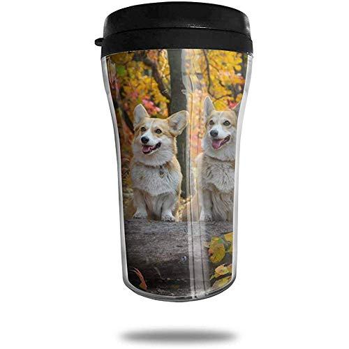 Herbst Hunde zwei walisische Corgi Laub Reisen Kaffeetasse 3D gedruckt tragbare Saugnapf, isolierte Teetasse Wasserflasche Becher zum Trinken mit Deckel 8,54 oz (250 ml)