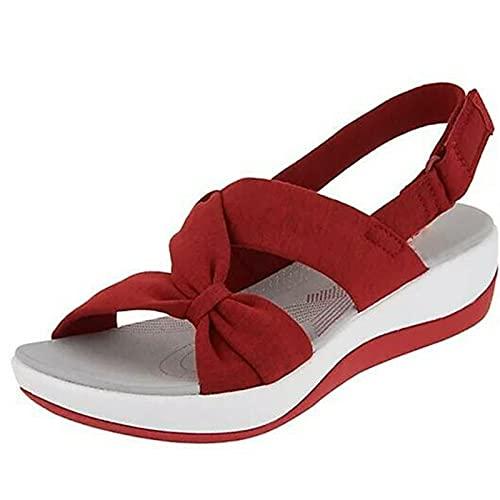BIUBIULOVE Mujeres Sandalia - Sandalias Planas con Diapositivas ortopédicas, Zapatos de Playa de Verano Diseño de Hebilla Suela Gruesa