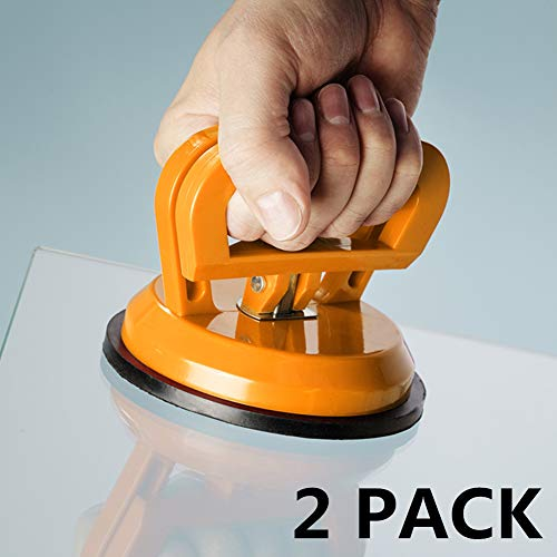 "IMT 4.9"" Glass Suction Cup Tiles Window Lifter 2 Pack, Power Grip Vacuum Lifter for Glass/Tiles/Mirror/Granite Lifting, Sucker Plate Double Handle Locking"