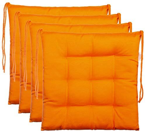 Brandsseller Ensemble de 4 Coussins de Chaise de Jardin/Coussin de siège de Jardin en Polyester - Couleur Orange