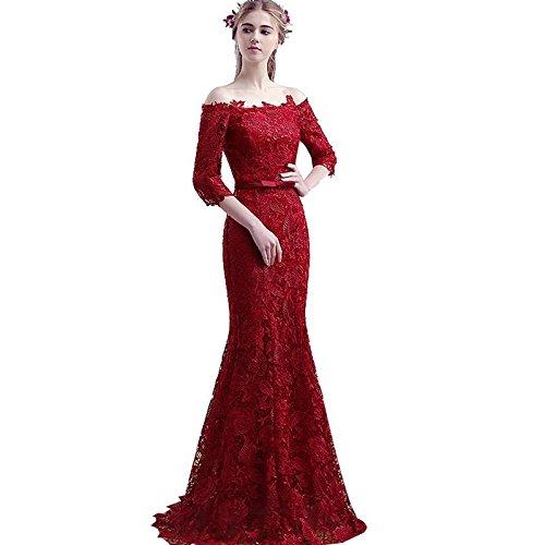 Sun Goddess SportingGoodsWein Rote Spitze Halbarm Slim Fishtail Abendkleid Braut Verheiratet Mermaid Partei Ballkleider, Wein Rot, 4.