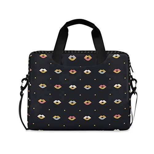 Black Art Lips Laptop Shoulder Bag Notebook Computer Handbag Sleeve Table Carrying Case Messenger Bags Fits 15.4 in for Youth Men Women