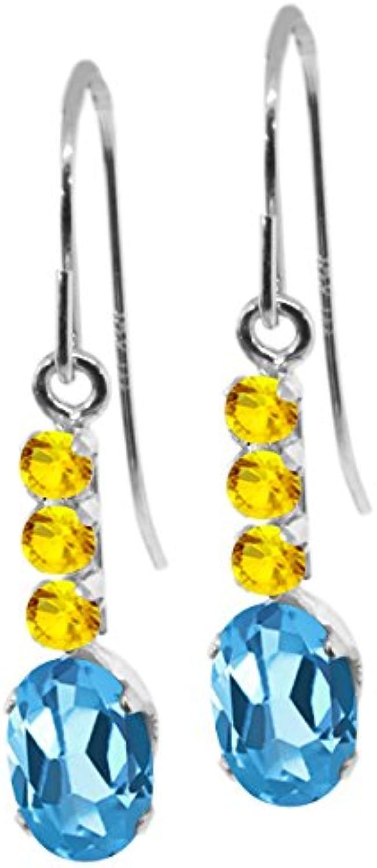 1.40 Ct Oval Swiss bluee Topaz Yellow Sapphire 10K White gold Earrings