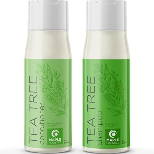 Tea Tree Shampoo and Conditioner Set - Potent Clarifying Shampoo and...