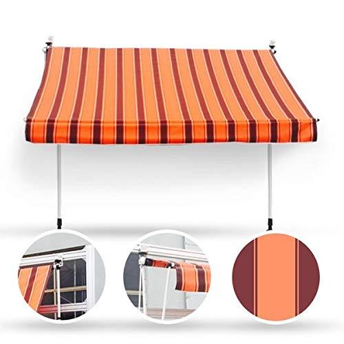 Wohnstyle24 250 x 120 Klemmmarkise Fallarmmarkise Markise orange mit Handkurbel Sonnenschutz Sichtschutz