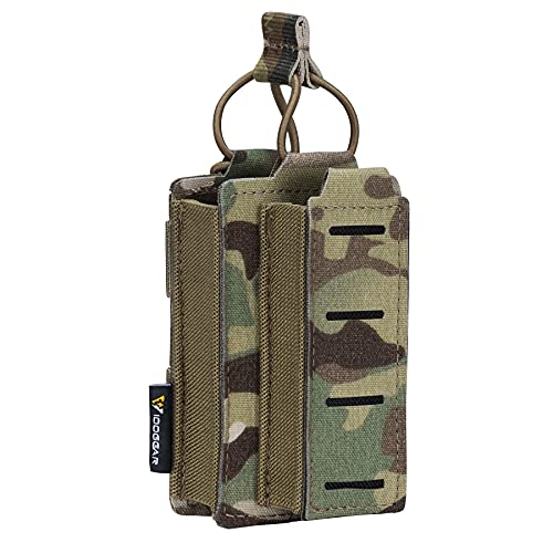 IDOGEAR Single Mag Pouches 5.56mm & 9mm Kangaroo Magazine Pouch Elastic Tactical Open Top MOLLE Pouch for Rifle and Pistol M4 M16 AR 5.56 9mm .40 S&W .45 ACP Magazines Laser-Cut Style (Multicam)