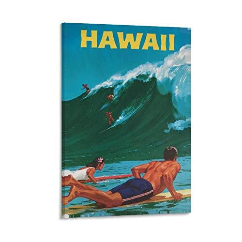 FDKJ Póster vintage de Hawai de viaje con pintura decorativa en lienzo para pared o sala de estar, dormitorio, 50 x 75 cm