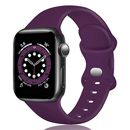 TopPerfekt - Cinturino in silicone compatibile con Apple Watch Strap 42 mm 44 mm, cinturino di ricambio in silicone per iWatch Series 6 5 4 3 2 1 SE (Viola scuro, 42/44mm-M/L)