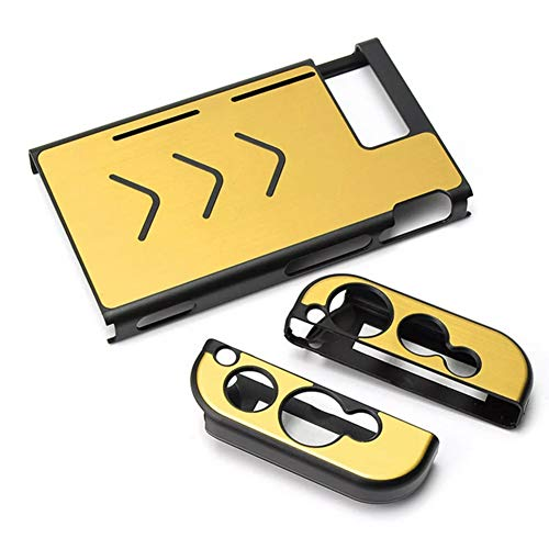 C-FUNN Funda De Aluminio Antideslizante Cubierta De La Cáscara De La Piel Protectora para Nintendo Switch Consola De Juegos - Dorado