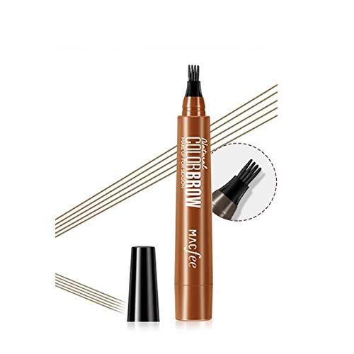 sourcil tatouage stylo crayon à sourcils liquide avec quatre conseils 4 couleurs longue durée Waterproof à l'eau sans bavure stylo à sourcils (03Light brown)