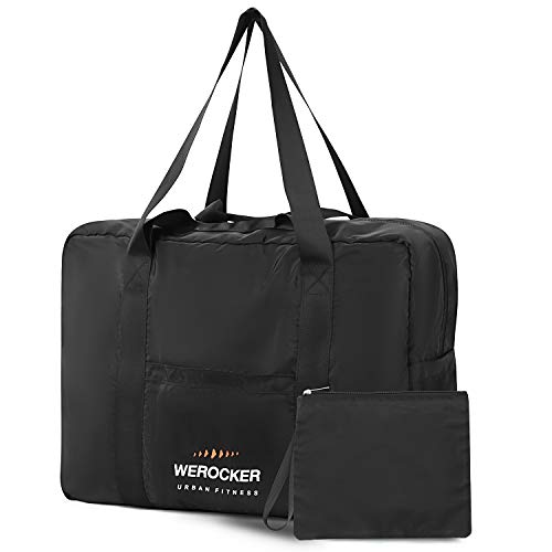 Foldable Travel Duffle Bags for Women Men Large Lightweight Packable Holdall Tote Carry on Luggage Weekender Overnight Sport Duffle Water Resistant Nylon Black