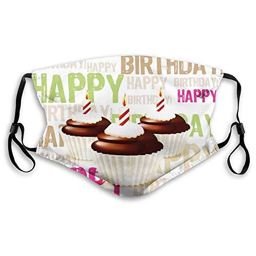 Grunge Happy Birthday Pattern con tre candele al cioccolato, decorazioni per il viso per adulti (M)
