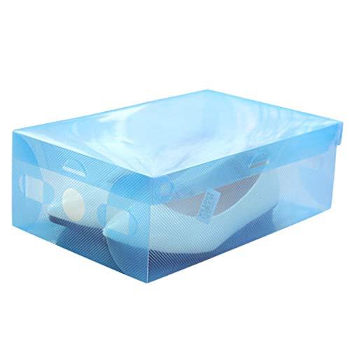 HYAN Zapatero Cajón cajón Cajas de Zapatos Transparentes Zapatos de Familia Organizador plástico Plegable Caja apilable 4 Colous Opcional Caja de Zapatos (Color : Blue)