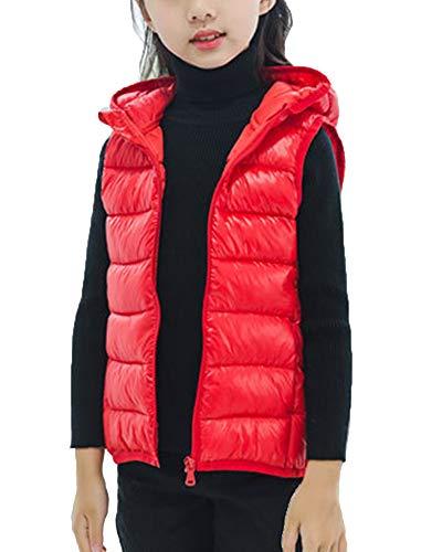Chaleco con Capucha Niños Niñas Inviernos Sin Mangas Chaqueta Abrigo Calienta Outwear Rojo 110cm