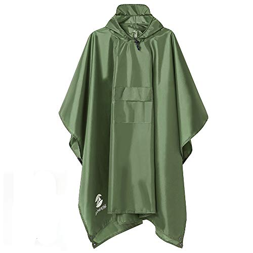Multifunctional Mens Womens Rain Poncho Waterproof Outdoor Raincoat(Army Green)