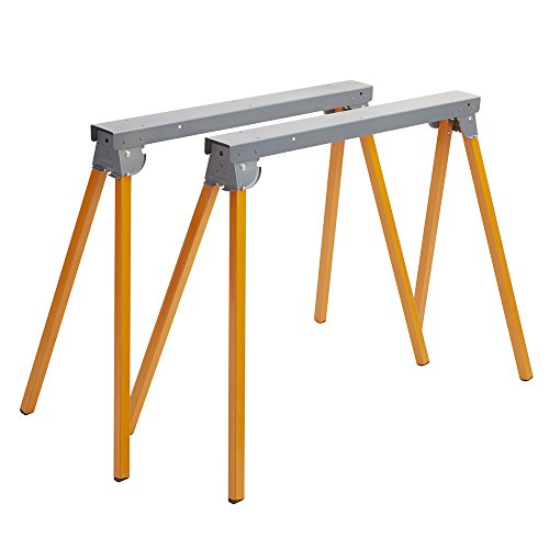 Bora Portamate PM-3300T Steel Folding Sawhorses – Set of 2 Heavy Duty Stands – Pre-Assembled