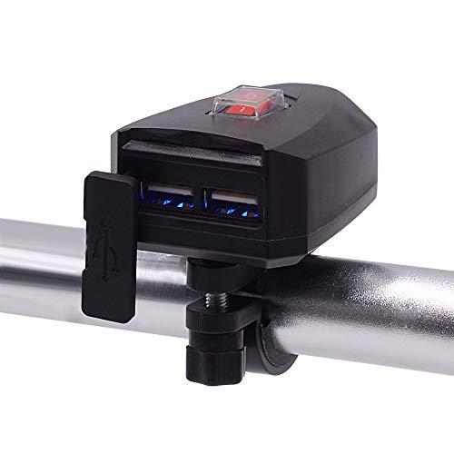 HBRT Motorrad Handy-Ladegerät, wasserdichte Doppel USB, elektrische Fahrrad-Ladegerät mit Schalter, 10V-80V Lenker Installation