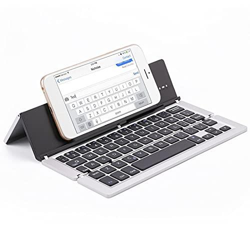 FFZQ Teclado Plegable portátil de Aluminio, Teclado Bluetooth, Escritorio Compatible, Compatible con escritorios, Accesorios de Entretenimiento de Oficina,C