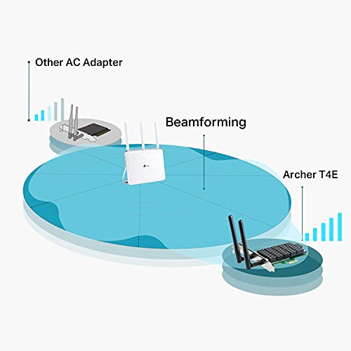 TP-Link AC1200 PCIe WiFi Card(Archer T4E)- 2.4G/5G Dual Band Wireless PCI Express Adapter, Low Profile, Long Range Beamforming, Heat Sink Technology, Supports Windows 10/8.1/8/7/XP