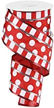 Polka Dots with Stripes Wired Edge Ribbon - 10 Yards (Red, White, 2.5