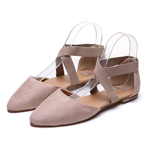 Sandalias para Mujer Punta Puntiaguda Correas Cruzadas Elásticas Pisos Trabajo Calzado Casual...