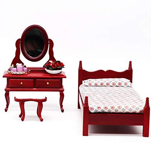 Casa De Muñecas Miniatura Victoriano De Lujo De Tocador Dormitorio Muebles De Caoba